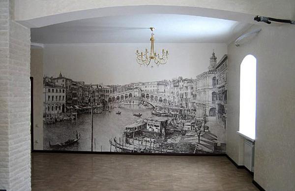 Sienų tapyba: atlikimas vienos spalvos akrilu